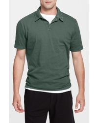 James Perse | Green Trim Fit Sueded Cotton Jersey Polo for Men | Lyst