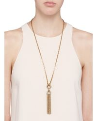 Lulu Frost | Metallic 'narcissus' Crystal Tassel Necklace | Lyst