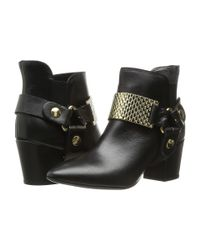 Just Cavalli - Black Low Heel Bootie With Gold Hardware - Lyst