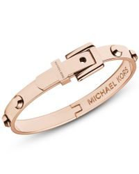 Michael Kors | Pink Heritage Rose Gold Astor Buckle Bangle | Lyst