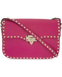 Valentino | Pink Rockstud Medium Messenger Bag | Lyst