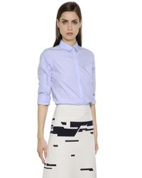 Jil Sander - Blue Cotton Poplin Shirt - Lyst