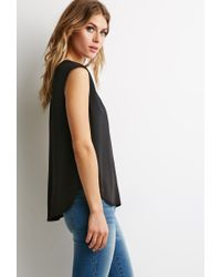 Forever 21 | Black Scoop Neck Woven Blouse | Lyst