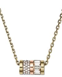 Michael Kors - Metallic Brilliance Gold Barrel Pendant Necklace - Lyst