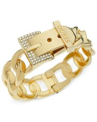 Guess | Metallic Gold-tone Crystal Buckle Bangle Bracelet | Lyst