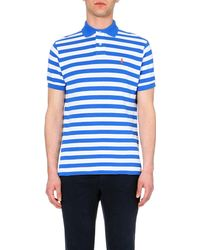 Ralph Lauren | Blue Striped Cotton-piqué Polo Shirt for Men | Lyst