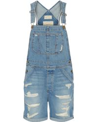 Current/Elliott - Blue The Shortall Denim Overalls - Lyst