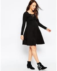 ASOS | Black Skater Dress With Lace Up Front | Lyst