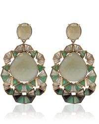 Nak Armstrong - Green Gold And Silver Emerald, White Sapphire And Aquamarine Earrings - Lyst