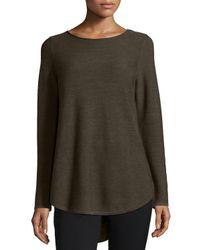 Eileen Fisher - Green Long-sleeve Merino Wool Tunic - Lyst