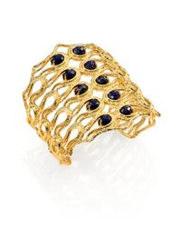 Alexis Bittar | Metallic Elements Maldivian Lapis Scalloped Aigrette Cuff Bracelet | Lyst