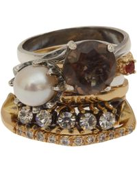 Iosselliani | White Crystal and Pearl Rock Cocktail Ring Stack | Lyst