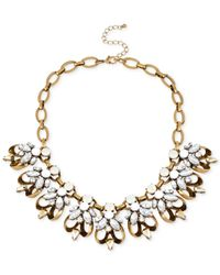Macy's | Metallic M. Haskell Gold-Tone Crystal And Bead Frontal Necklace | Lyst