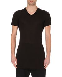 Rick Owens | Black Longline Jersey T-shirt for Men | Lyst