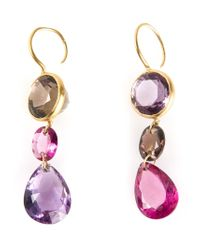 Marie-hélène De Taillac | Pink 22kt Gold 'lady Life' Drop Earrings | Lyst