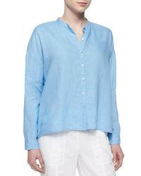 Eileen Fisher - Blue Mandarin-collar Organic Linen Long-sleeve Top - Lyst