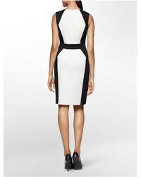Calvin Klein | Black White Label Colorblock Ponte Knit Sleeveless Sheath Dress | Lyst