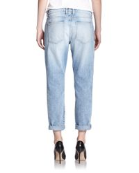Current/Elliott - Blue The Distressed Fling Slim-fit Boyfriend Jeans - Lyst