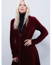 Free People | Red Womens Drippy Lace-up Cord Duster | Lyst
