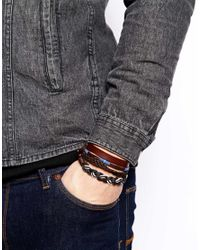 ASOS - Black Leather Bracelet 4 Pack for Men - Lyst
