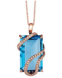 Le Vian | Blue Topaz (10-3/8 Ct. T.w.) And Diamond (1/5 Ct. T.w.) Wrap Pendant Necklace In 14k Rose Gold | Lyst