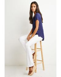 Forever 21   Blue Embroidered-mesh Tee   Lyst