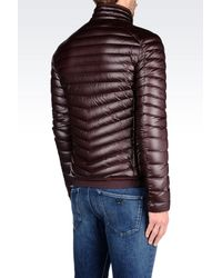 Emporio Armani | Purple Down Jacket In Leather Effect Technical Fabric for Men | Lyst