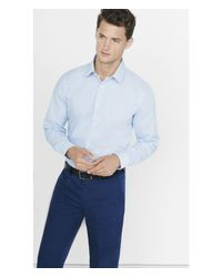 Express | Blue Fitted Microsquare Print Dress Shirt for Men | Lyst