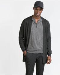 Zara | Gray Open Viscose Cardigan for Men | Lyst