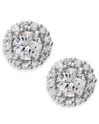 Macy's | Metallic White Sapphire Halo Stud Earrings In 14k White Gold (3/4 Ct. T.w.) | Lyst