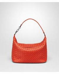 Bottega Veneta. Women s Red Small Shoulder Bag In Vesuvio Intrecciato Nappa 2782d9ac0b