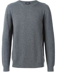 A.P.C. - Gray Crew Neck Sweater for Men - Lyst