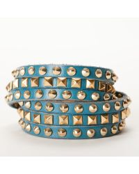 Linea Pelle | Green Double Wrap Mixed Studded Bracelet | Lyst