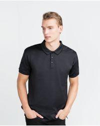 Zara | Gray Jacquard Polo Shirt for Men | Lyst