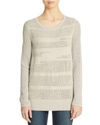Calvin Klein Jeans | Gray Textured Crewneck Sweater | Lyst
