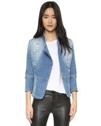 Balmain - Blue Double Breasted Denim Jacket - Lyst