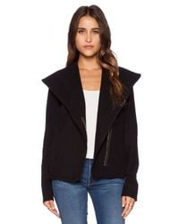 James Perse - Black Knit Twill Moto Jacket - Lyst