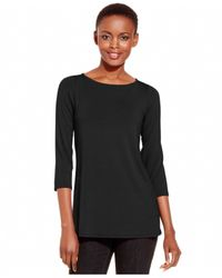 Eileen Fisher | Black Solid Boat-neck Top | Lyst