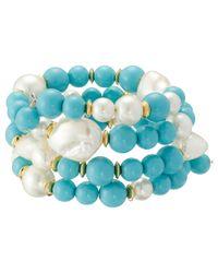 Kenneth Jay Lane | Blue Gold Tone Beads Coil Bracelet | Lyst