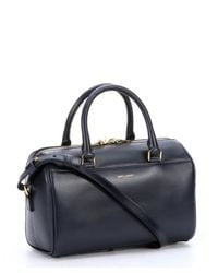 Saint Laurent - Blue Navy Leather Convertible Mini Duffle Bag - Lyst