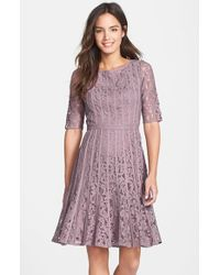 Adrianna Papell | Multicolor Lace Fit & Flare Dress | Lyst