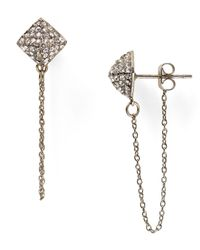 Rebecca Minkoff | Metallic Pave Pyramid Swag Chain Stud Earrings | Lyst