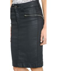 7 For All Mankind - Black High Waisted Pencil Skirt With Zips - Olive Jeather - Lyst