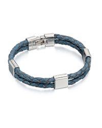 Fred Bennett - Double Strand Blue Leather Bracelet for Men - Lyst
