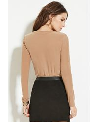 Forever 21 - Natural Faux Suede Surplice Top You've Been Added To The Waitlist - Lyst