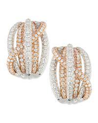 Roberto Coin | Metallic 18K Rose & White Gold Pave Diamond Crossover Earrings | Lyst