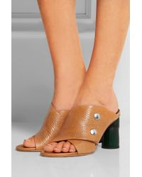 Acne Studios - Brown Mara Textured-Leather Mules - Lyst