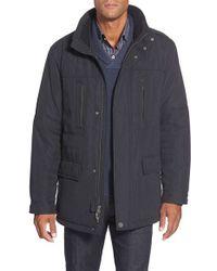 Bugatchi   Blue Three Quarter Zip Coat for Men   Lyst