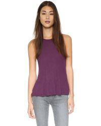 Free People - Purple Rib Slub Long Beach Tank - Lyst