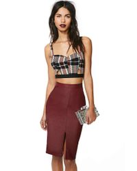 Nasty Gal - Brown Addiction Faux Leather Skirt - Lyst